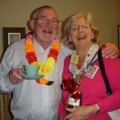 Ken and Audrey with her prize from the 2011 tombola