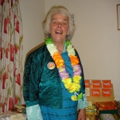 Freda Ferne dressed in her traditional Bhutanese Kira at the 2011 Coffee Morning