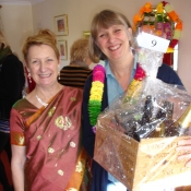 Kathy with Pippa Tate, the winner of the Fairtrade hamper donated by the Co-op Store, Winsley Road, Bradford on Avon, for the 2012 Coffee Morning