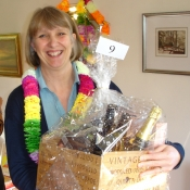 Pippa Tate at the 2012 Coffee Morning with her winning Fairtrade hamper