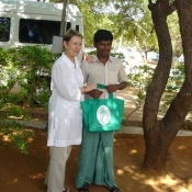 Neem Tree Trust bag with one of the wardens at the home in Tirunelveli