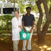 Neem Tree Trust bag with one of the wardens at the boys at the home in Tirunelveli