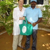 Kathy with Murali and their bag at the boys\' home in Tirunelveli