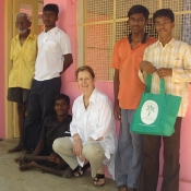 Neem Tree Trust bag with some of the boys at the home in Tirunelveli