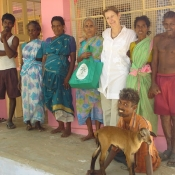 Neem Tree Trust bag with some of the workers at the home in Tirunelveli