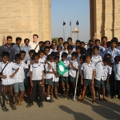 Neem Tree Trust bag with the boys at India Gate, Delhi