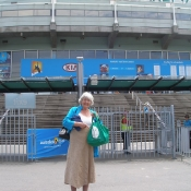 Jan Hopkins with her NTT bag at the Rod Laver Arena, Melbourne, Australia