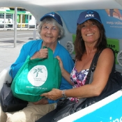Jan Hopkins with her daughter and their NTT bag in Melbourne, Australia