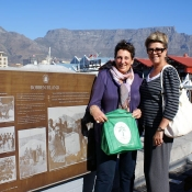 Jan and Fran with their Neem Tree Trust Bag at Robben Island