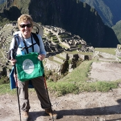 Margaret Sykes with her NTT bag at Machu, Picchu, Peru