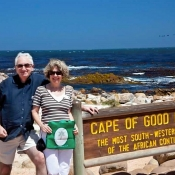 Jo and John with their bag NTT bag at the Cape of Good Hope