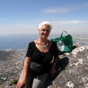 Sylvia with her Neem Tree Trust bag on Table Mountain