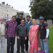 Supporters on their way to the ODI Cardiff.  Back row Lijesh & Cyriac.  Front row Ken Miller, Sunil, Gino, Kathy Miller and Anish.