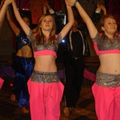 Year 10 girls dancing with the Angel Dancers